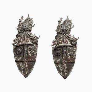 Heraldic Cast Shields, 1920s, Set of 2