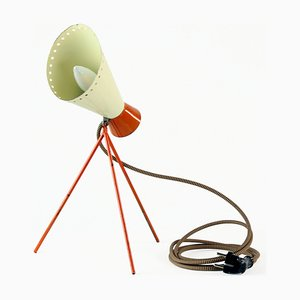 Mid-Century Metal Table Lamp in Cream & Orange by Josef Hurka for Napako, 1960s