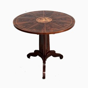 19th Century Charles X Pedestal Table in Mahogany Bramble Veneer & Marquetry