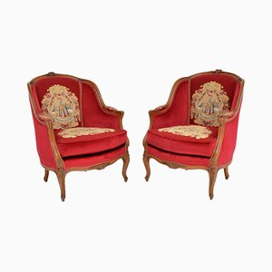 French Tapestry Armchairs, 1930s, Set of 2
