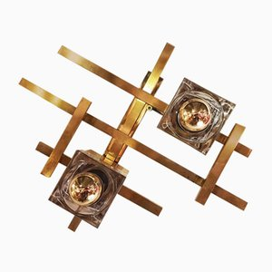 Gilt Brushed Brass and Thick Glass Wall Light by Gaetano Sciolari, Italy, 1970s