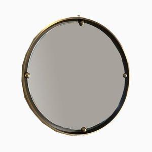 Vintage Brass Round Mirror, 1970s