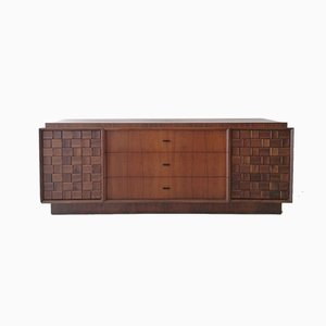 Mid-Century American Brutalist Walnut Sideboard in the Style of Paul Laszlo, 1960s