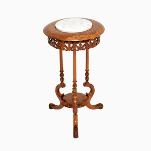 Antique Victorian Burr Walnut & Marble Side Table