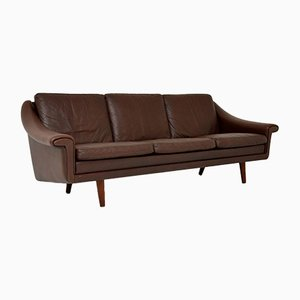 Vintage Danish Leather Sofa, 1960s