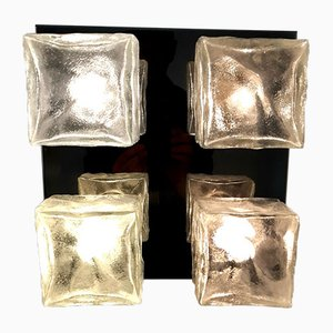 Ice Glass Wall or Ceiling Lamp from Kalmar, 1960s