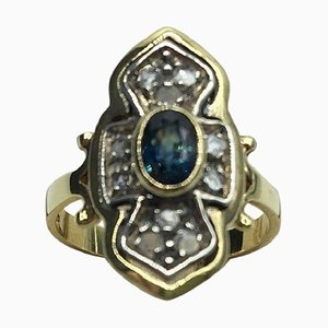 Anillo en forma de diamante de zafiro en oro diamante, años 80