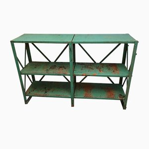 Industrial Green Shelving Unit, 1950s