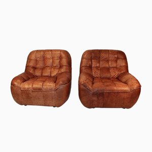 Vintage Leather Patchwork Armchairs, 1970s, Set of 2