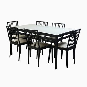 Mid-Century Modern Dining Table & Chairs Set from Flama Manufacture, Brazil, 1950s, Set of 7