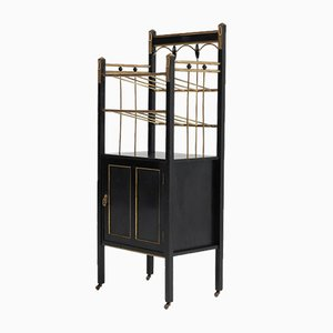 Art Nouveau Vienna Secession Lacquered Wood & Brass Magazine Stand, 1900s