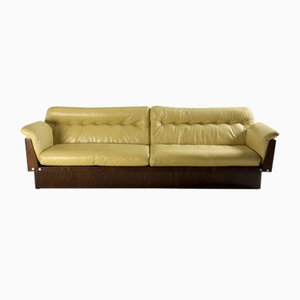 Mid-Century Modern Sofa in Hardwood and Leather from Lineart Móveis e Decoração, Brazil, 1960s