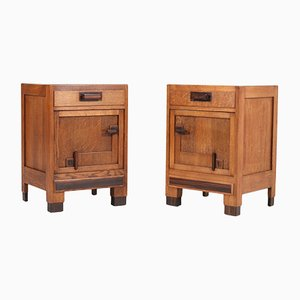 Art Deco Oak Haagse School Nightstands, 1920s, Set of 2