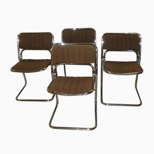 Vintage Steel and Velvet Dining Chairs, 1970s, Set of 4