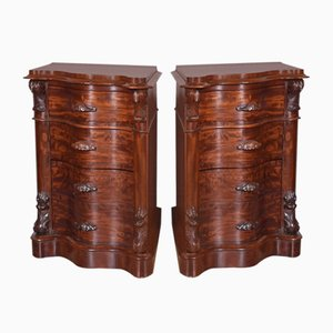 Victorian Mahogany Bedside Chest of Drawers, Set of 2