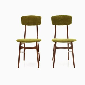 Green Velvet Chairs, 1960s, Set of 2
