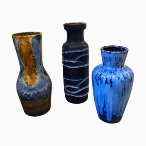 German Lava Ceramic Vases from Scheurich, 1970s, Set of 3