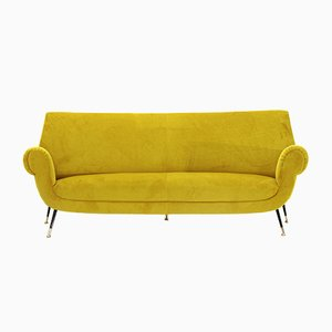 3-Seat Sofa in Yellow Ocher Velvet, 1960s