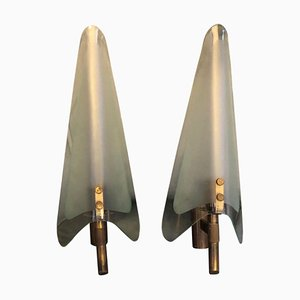 Large Mid-Century Modern Wall Sconces in the Style of Max Ingrand for Fontana Arte, 1950s, Set of 2