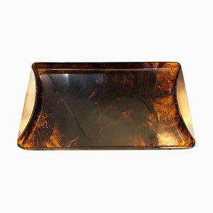 Mid-Century Modern Italian Fake Tortoise Lucite and Brass Rectangular Tray from Tommaso Barbi, 1960s
