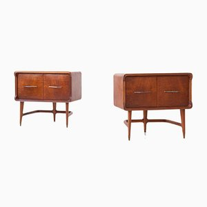 Italian Mahogany Sculptural Bedside Tables, 1950s, Set of 2