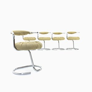 Cobra Chairs in Beige Eco-Leather by Giotto Stoppino, 1970s, Set of 5