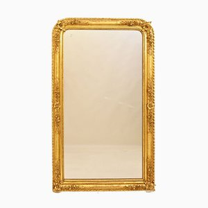 Early-19th Century Golden Gilded Wall Mirror with Gold Leaf Frame