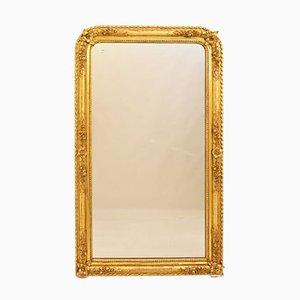 Miroir Mural Doré, Début 19ème Siècle, avec Cadre Feuille d'Or