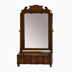 Antique Georgian Revival Walnut Dressing Table Toilet Mirror, 1910s