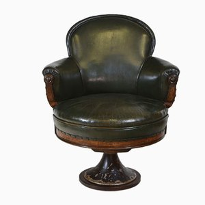Mid-19th Century Leather & Walnut Swivel Railway Guards Chair