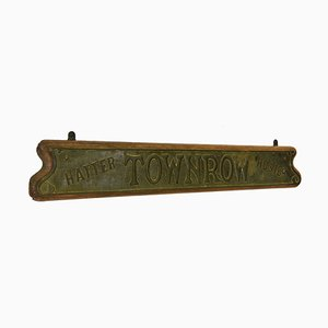 Edwardian Art Nouveau Copper & Oak Shop Sign Townrow Hatter Hosier