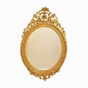 19th Century Golden Oval Wall Mirror with Gold Leaf Frame