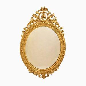 Miroir Mural Oval Doré 19ème Siècle avec Cadre en Feuille d'Or