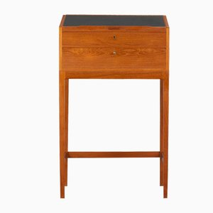 High Desk in Teak with Black Leather by Svend Langkilde for Langkilde Møbler, 1960s