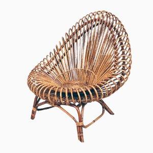 Ovaler Armlehnstuhl aus Rattan im Stil von Franco Albini, 1960er