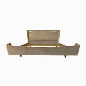 Mid-Century Italian Parchment and Maple Bed, 1950s