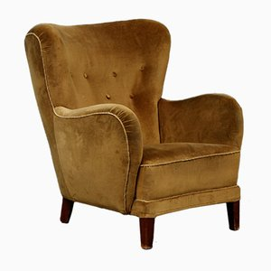 Vintage Danish Cabinetmaker Wing Chair in Green Velour with Stained Beech Legs