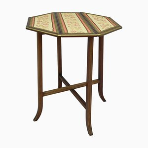 French Drop-Leaf Side Table with Embroidered Top Folding, 1910