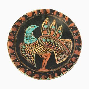 Mid-Century Hand-Painted Enamel Decorative Bird Centerpiece Plate, 1970s