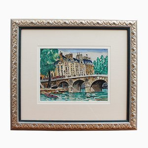 Pittura Le Pont Neuf di Lucien Genin, anni '30