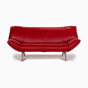 Red Leather Tango 2-Seat Function Sofa from Leolux