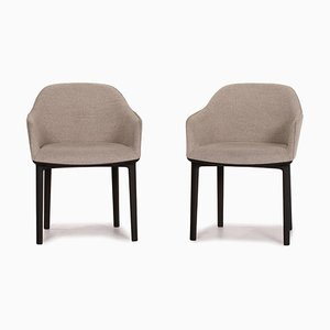 Grey Softshell Fabric Armchairs from Vitra, Set of 2