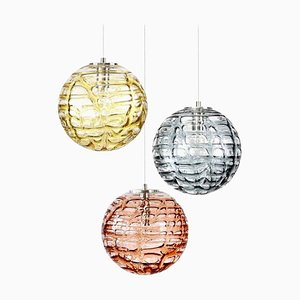 Murano Glass Pendant Lights in the Style of Venini from Doria Leuchten, 1960s, Set of 3