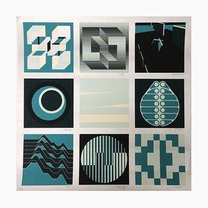 Ausstellung Les Couleurs Harmonic 75 von 9 Malern von Geneviève Claisse, 1970er