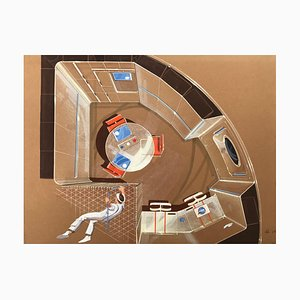 Progetto Orbital Station Pastel on Vellum Rag Paper by Raymond Loewy, 1970