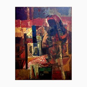 Brown Maternity Oil on Canvas by Omar El-Nagdi, 1961