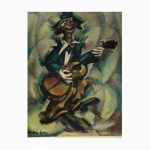 Oil on Canvas the Musician Clown by André Fau, 1948