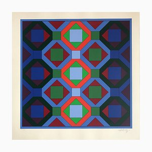 Lithograph Geometrical Structure 4 by Victor Vasarely, 1973