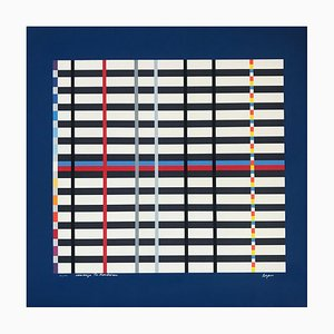 Tribute to Mondrian Lithographie von Yaacov Agam, 1975
