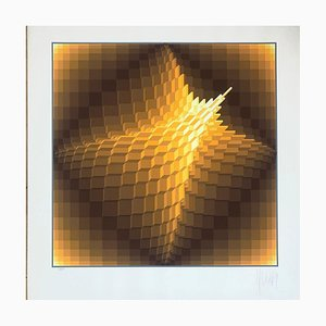 Geometric Structure Lithograph by Yaacov Agam, 1974